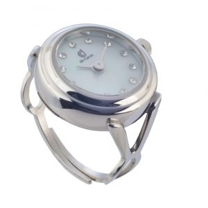 Silver finger watch ring