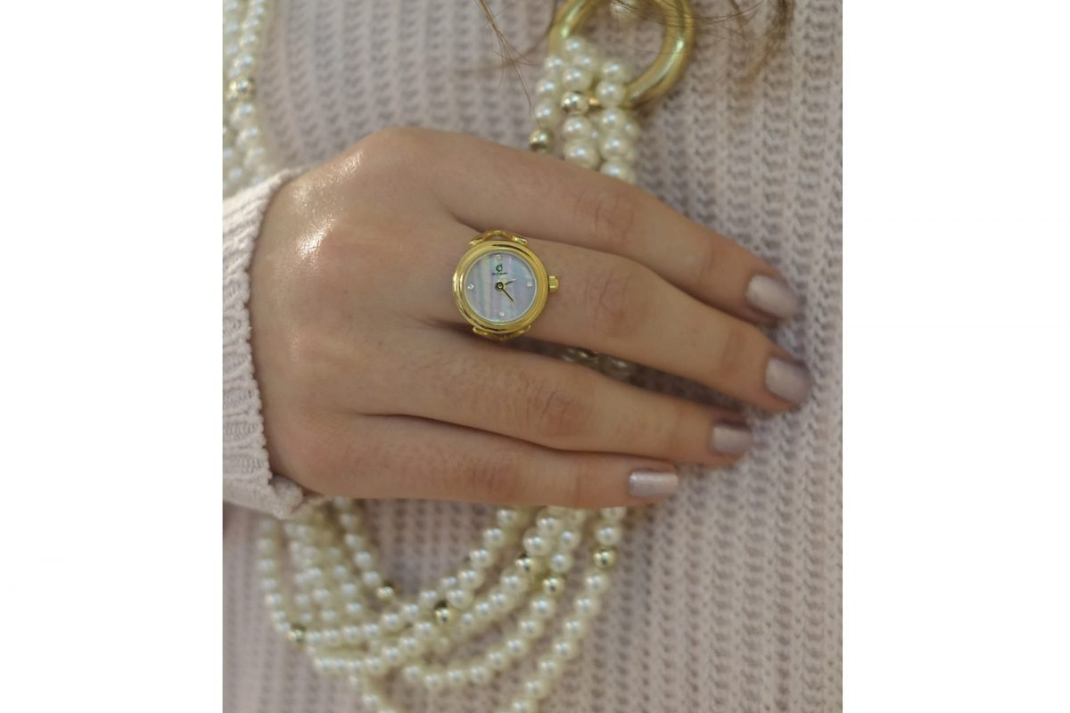 Gold ring watch with Swarovski crystals by de Caron