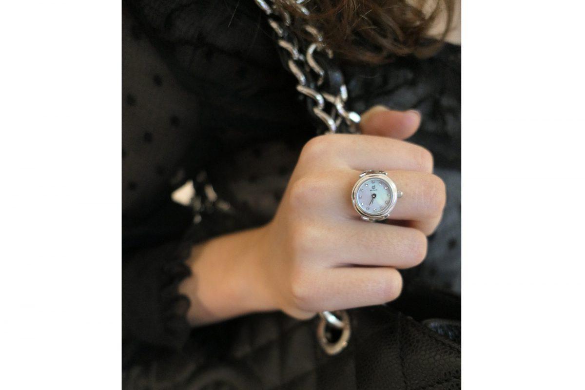 Silver ring watch with Swarovski crystals by de Caron