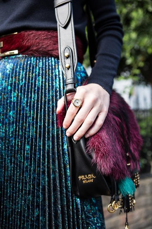 de caron gold watch ring with swarovski crystals and prada bag