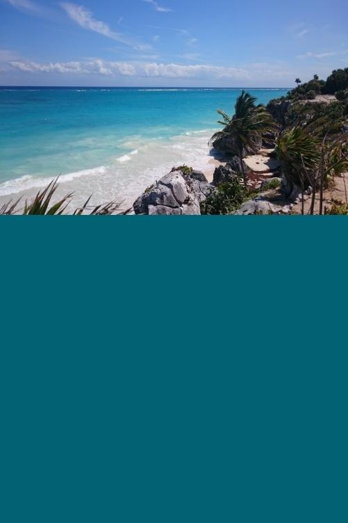 tulum white sand beach maya ruins mexico